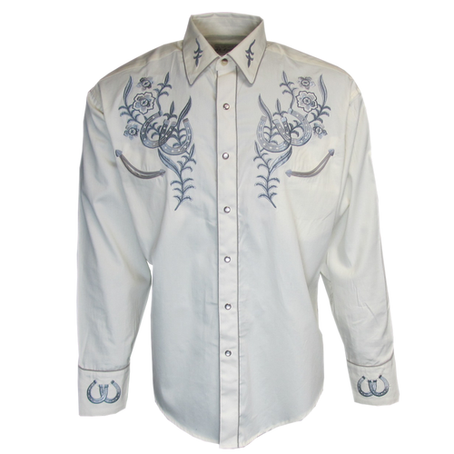 Mens Rockmount Horseshoe Floral Western Embroidered Cowboy Shirt