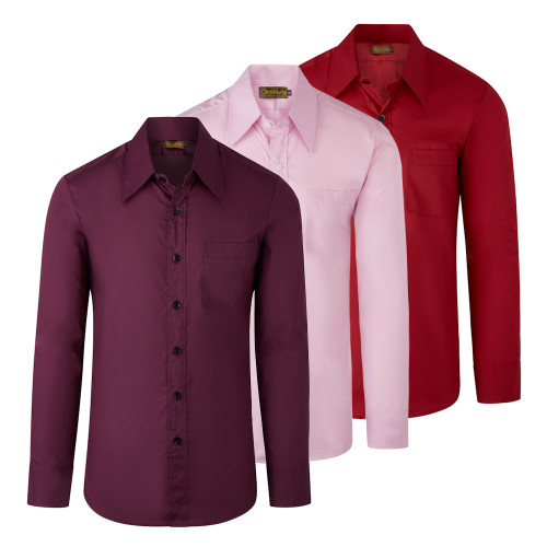 Chenaski Mens Basic Retro Shirt With Large Collar