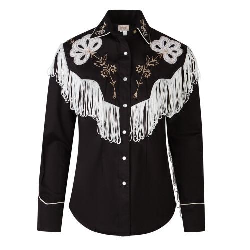 Womens Rockmount Black Fringe Vintage Embroidered Western Shirt