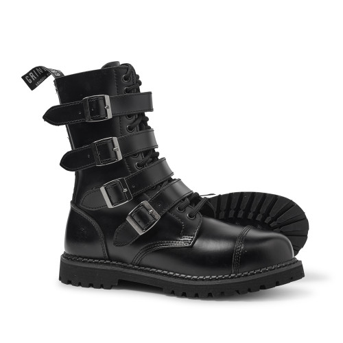 Mens Grinders Quad CS 14 Eyelet Buckle Derby Boot