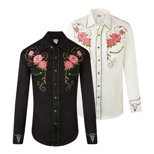 Mens Rockmount Longhorn Steer Floral Western Embroidered Cowboy Shirt