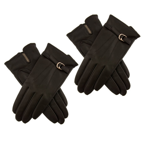 Womens Dents Lillian Leather Touchscreen Gloves with Buckle