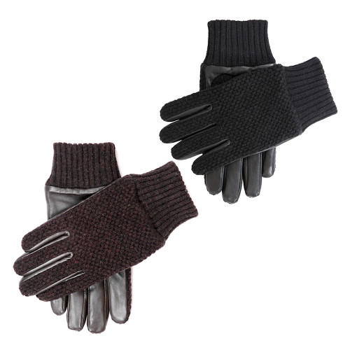 Mens Dents Ashford Waffle Knit Wool and Leather Gloves