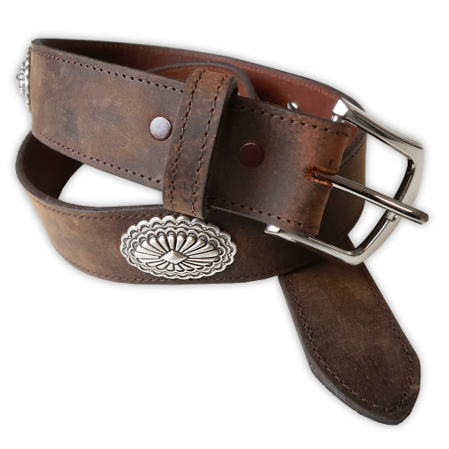 Mens Rockmount Vintage Distressed Conchos Western Belt - Made in the USA