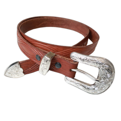 Mens Rockmount Vintage Tooled Figure 8 Narrow Western Belt - Made in the USA