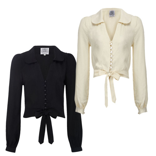 Seamstress Of Bloomsbury 1940's Authentic Cream Dome Buttoned Clarice Blouse