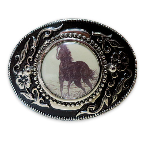 Mens Rockmount Vintage Mustang Cowboy Belt Buckle - Made in the USA