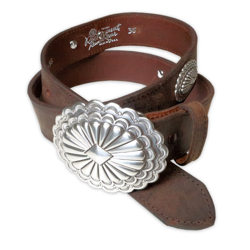 Mens Rockmount Distressed Conchos Western Belt with Buckle - Made in the USA