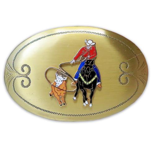 Mens Rockmount Vintage Oval Solid Brass Calf Roper Cowboy Belt Buckle