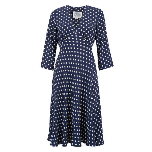 Seamstress Of Bloomsbury Navy with White Spots 1940s Lois Dress