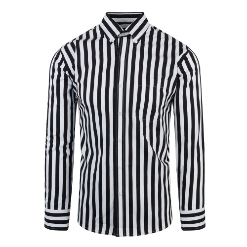 Relco White And Black Stripe Long Sleeve Button Down Mod 60s Shirt