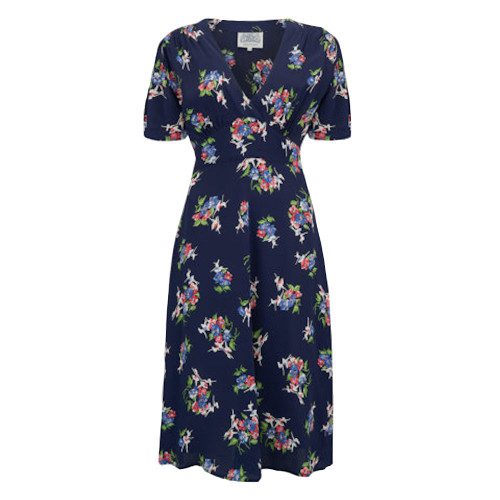 Seamstress Of Bloomsbury Navy Floral 1940s Dolores Dress