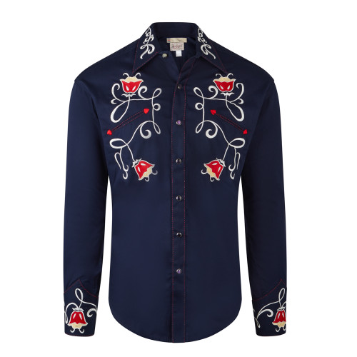 Mens Rockmount Navy Western Tulip Ornate Embroidered Cowboy Shirt
