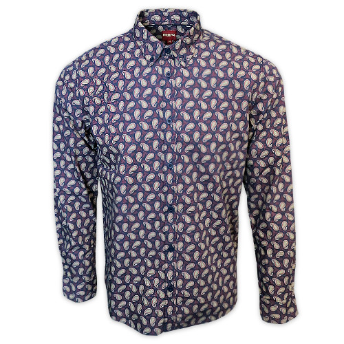 Mens Merc London Shire Vintage Paisley Long Sleeve Mod Shirt