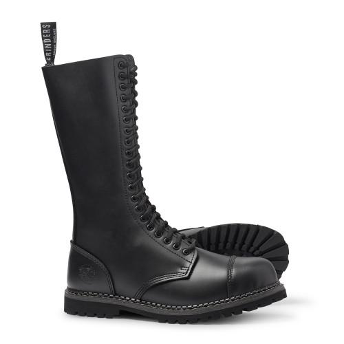 Mens Grinders Black Leather King CS Derby 20 Eyelet Skin, Punk Boots