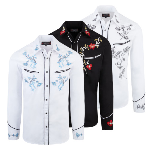 Mens Red Star Rodeo Cowboy Rockabilly Line Dancing Western Embroidered Shirt