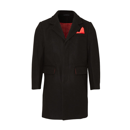 Mens Relco Wool Blend Mod Overcoat With Red Lining