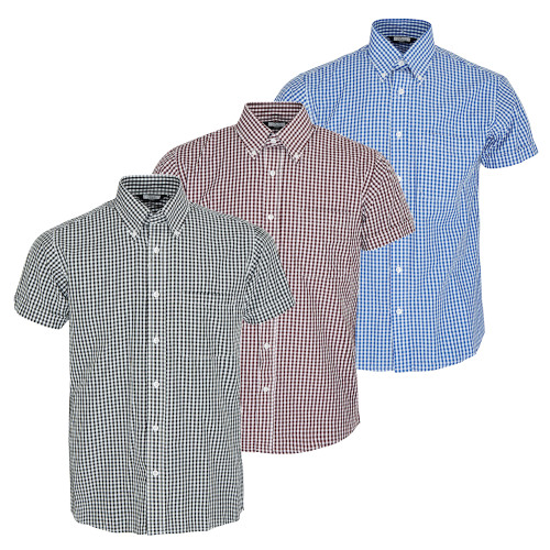 Relco Mens Gingham Short Sleeve Classic Mod Button Down Shirt