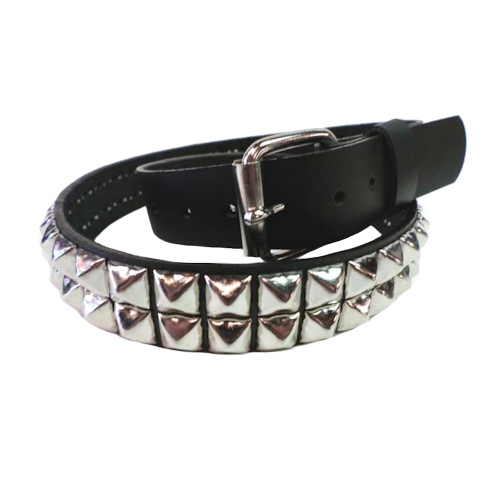 Bullet 69 Pyramid Stud Black Leather Rocker Biker Belt