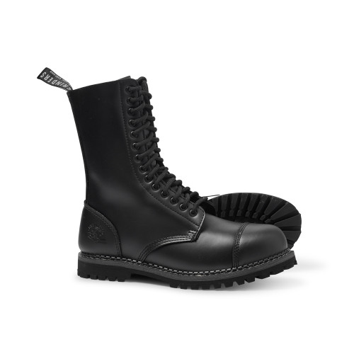 Mens Grinders Black Leather Herald CS Derby 14 Eyelet Skin, Punk Boots