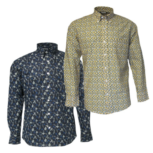 Mens Relco Geometric Vintage Mod Long Sleeve Shirt