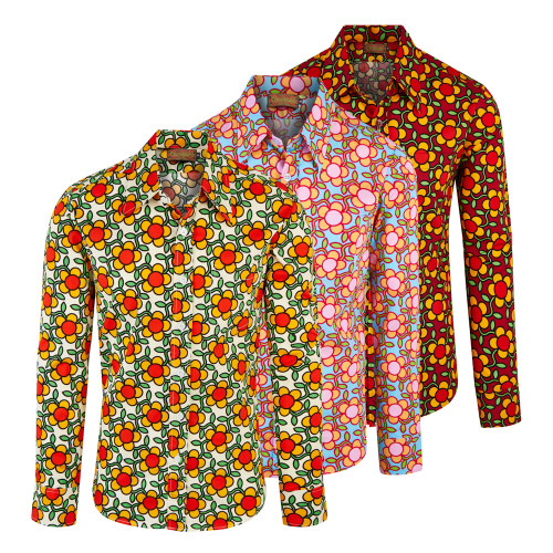 Chenaski 70's Flowergrid Psychedelic Retro Party Shirt