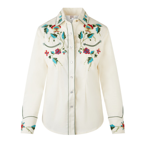 Womens Rockmount Ivory Vintage Floral Embroidered Western Shirt