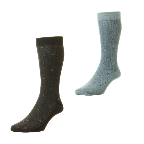 Mens Pantherella Black or Hazey Blue Buxton Socks Made In The UK Sizes S/M/L