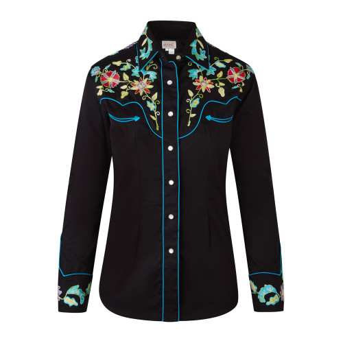 Womens Rockmount Black Vintage Floral Embroidered Western Shirt