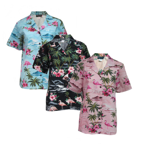 Womens Puanani Blue/Pink/Black Flamingo Authentic Hawaiian Shirt Blouse