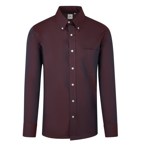 Mens Relco Burgundy Two Tone TNC Tonic Long Sleeve Mod Shirt S - 3XL