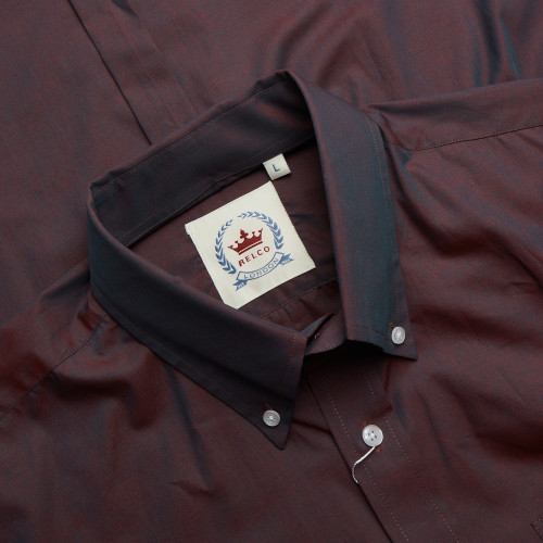 Mens Relco Burgundy Two Tone TNC Tonic Long Sleeve Mod Shirt S - 3XL