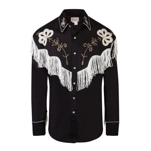 Mens Rockmount Black Fringe Vintage Embroidered Western Cowboy Shirt