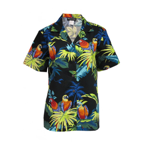 Womens Puanani Black Parrot Authentic Hawaiian Shirt Blouse