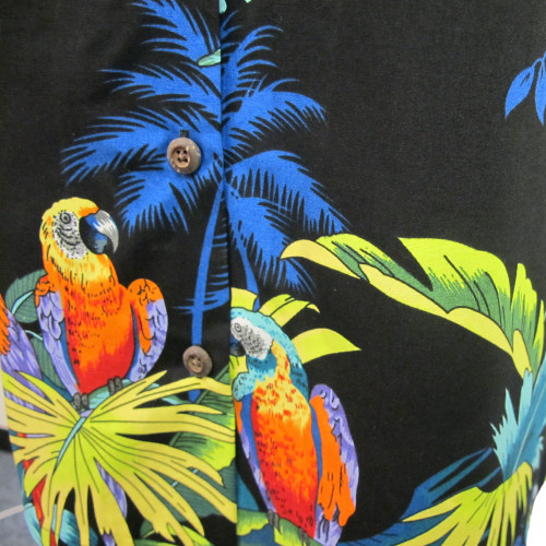 Womens Puanani Black Parrot Authentic Hawaiian Shirt Blouse