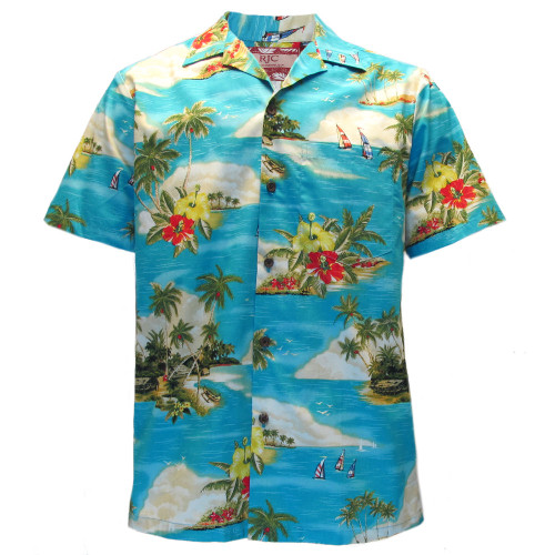 Mens Clancey Classic Authentic Coconut & Palm Turquoise Hawaiian Shirt S-2XL