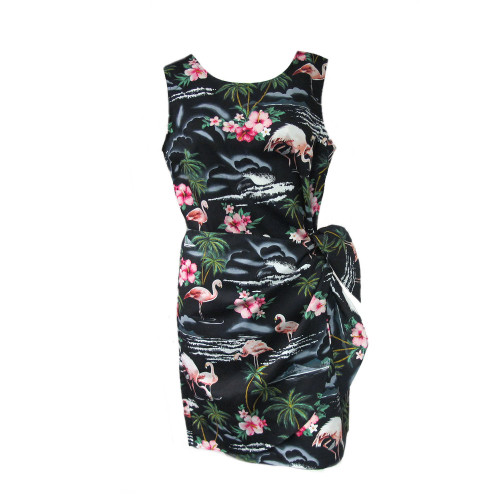 Womens Puanani Black Flamingo Authentic Hawaiian Sarong Dress