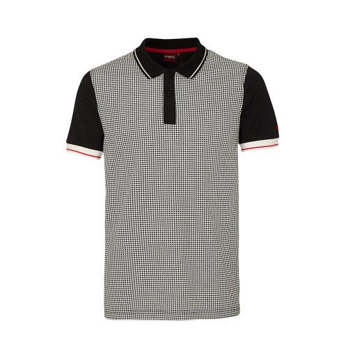 Mens Merc London Black Corona Dogtooth Classic Mod Cotton Polo Shirt