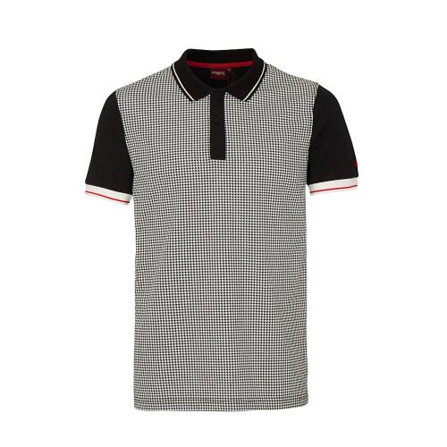 Mens Merc London Black Corona Dogtooth Classic Mod Cotton Polo Shirt