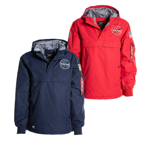 Mens Alpha Industries Rep Blue or Speed Red NASA Hooded Anorak