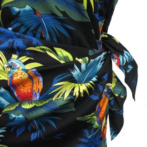 Womens Puanani Black Parrot Authentic Hawaiian Sarong Dress