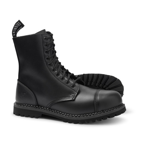 Womens Grinders Black Stag Combat 10 Hole Boots 3 - 7 UK