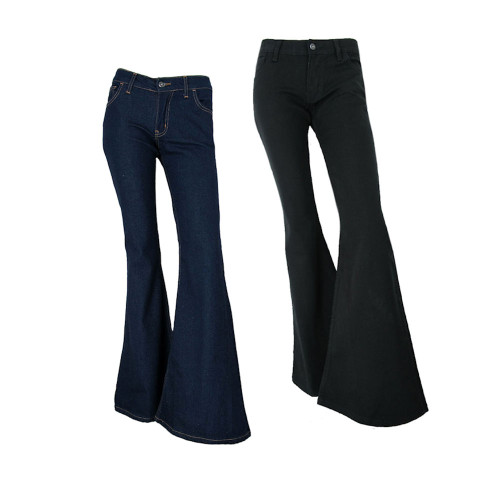 """Womens Fans London 60s 70s 26"""" Flare Bell Bottom Stretch Indigo Jeans Made In UK"""
