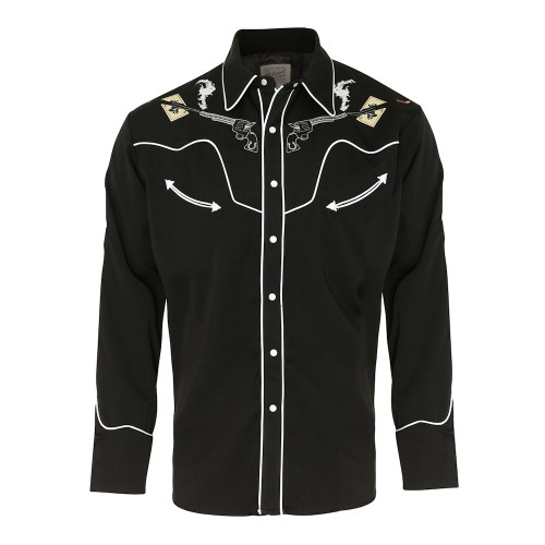Mens Scully Skulls Guns 'N Cards Western Shirt