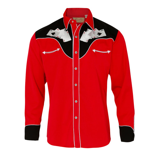 Mens Scully Four Ace Embroidery Western Shirt