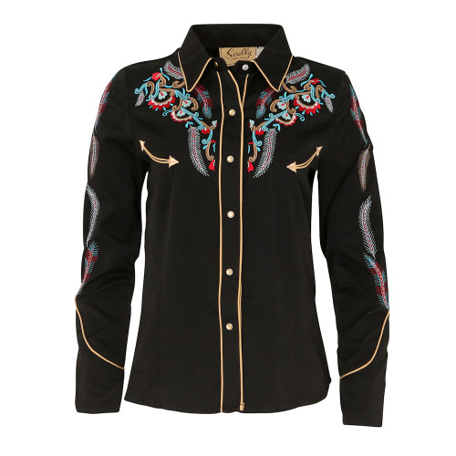 Womens Scully Floral Feather Embroidery Western Shirt