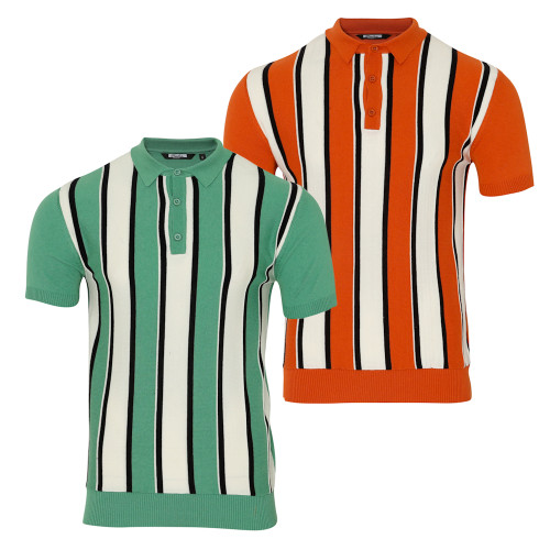 Mens Relco Fine Gauge 60s Stripe Knit Polo Shirt