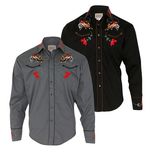 Mens Rockmount Vintage Bronc Western Embroidered Cowboy Shirt