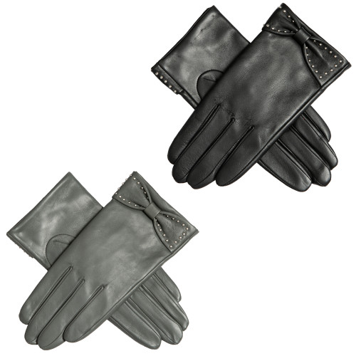 Womens Dents Sophia Leather Touchscreen Bow Gloves