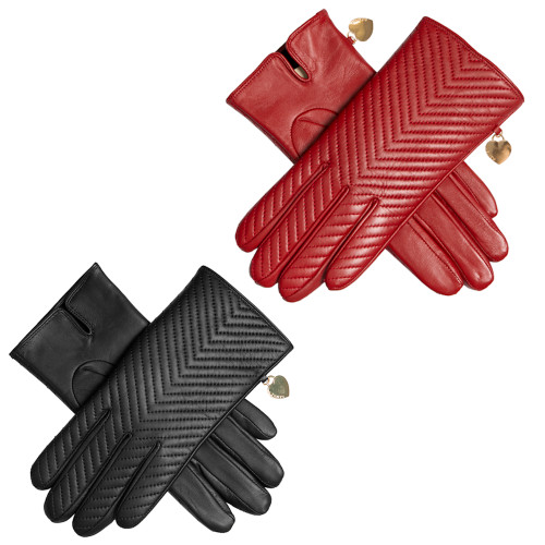 Womens Dents Zara Quilted Chevron Leather Touchscreen Gloves